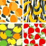 Aprikosfrukter, limefrukter och citroner citrus, banan och jordgubbar vektor illustrationer
