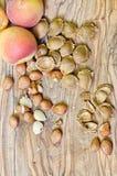 Aprikosgropar på trä arkivbilder