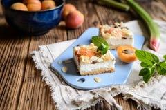 Aprikosostkaka med rabarber som överträffas med smulpaj- och mandelflingor royaltyfri fotografi