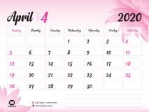 April 2020 årsmall, kalender2020 vektor, design för skrivbordkalender, rosa blommabegrepp för skönhetsmedel, skönhet, brunnsort,  stock illustrationer