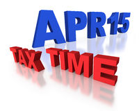 April 15 tax time reminder. April 15 tax time for IRS declaration in blue and red block letters on white background Stock Images