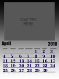 April 2010. Wall calendar with place for your kids image, week starts on sunday Royalty Free Stock Images
