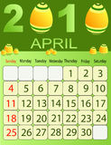 April 2010. Vector illustration of colored Calendar, 2010 Royalty Free Stock Photos