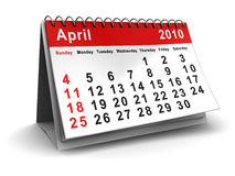 April 2010 calendar. 3d illustration of april 2010 desktop calendar Stock Photo