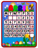 April 2010 Calendar. An illustrated April 2010 calendar with a colorful design with sun, flowers & easter eggs Royalty Free Stock Images