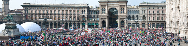April 25, Liberation Day in Milan. Italy. April 25, Liberation Day parade in Milan. Italy, for the anniversary of the 1945 fall of Mussolini's Italian Social Royalty Free Stock Photography