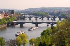 April-Abend über der Moldau Prag, Tschechische Republik Stockbild