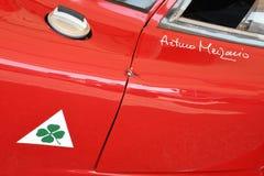 21 April 2018: Alfa Romeo Tipo 33/2 Daytona Coupe at Motor Legend Festival 2018 at Imola. Circuit in Italy royalty free stock photography