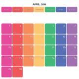 April 2018 Anmerkungsraum-Farbwochentage des Planers große auf Weiß Stockfotografie