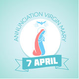 April 7 Annunciation Virgin Mary. Calendar for each day on April 7. Holiday - Annunciation Virgin Mary. In the style of a modern retro Royalty Free Stock Photos