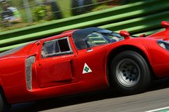 21 April 2018: Arturo Merzario drive Alfa Romeo Tipo 33/2 Daytona Coupe during Motor Legend Festival 2018 at Imola Circuit in. Italy royalty free stock image