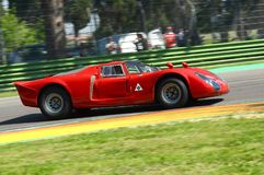 21 April 2018: Arturo Merzario drive Alfa Romeo Tipo 33/2 Daytona Coupe during Motor Legend Festival 2018 at Imola Circuit in. Italy stock photography