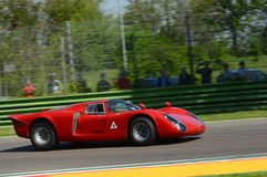 21 April 2018: Arturo Merzario drive Alfa Romeo Tipo 33/2 Daytona Coupe during Motor Legend Festival 2018 at Imola Circuit in. Italy royalty free stock photography
