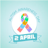 2 April Autism awareness day. Calendar for each day on April 2. Holiday - Autism awareness day . Icon in the flat style Stock Images