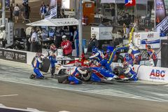 IndyCar: April 07 Desert Diamond West Valley Casino Phoenix Grand Prix. April 07, 2018 - Avondale, Arizona, USA: Matheus Leist 4 leaves the pit box with one royalty free stock photo