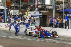 IndyCar: April 07 Desert Diamond West Valley Casino Phoenix Grand Prix. April 07, 2018 - Avondale, Arizona, USA: Matheus Leist 4 leaves the pit box with one royalty free stock photography