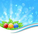 April background with Easter colorful eggs Royalty Free Stock Images