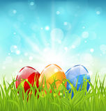 April background with Easter colorful eggs Stock Photography