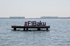 April 20, 2019 - Baku, Azerbaijan. Formula 1 sign placed in Caspian sea in Baku city royalty free stock photos