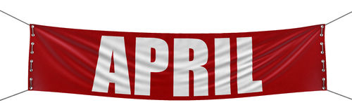 April Banner (clipping path included). Big April Banner. Image with clipping path Royalty Free Stock Images
