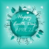 April 22 banner. Happy Earth Day card design. Vector illustration. Cute April 22 banner. Happy Earth Day card design. Vector illustration Stock Image