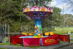 An infant`s carousel ride in course of construction on the preparation day for the annual Spring Festival held in Ba. 20 April 2018 Barnett`s Demesne Belfast stock images