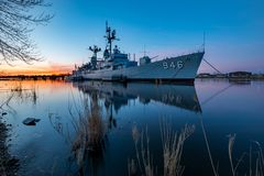 April 22, 2017 - Bay City, Michigan - USS Edson at sunrise is do. USS Edson, docked in Bay City, Michigan at Sunrise. A Forrest Sherman-class destroyer, formerly Royalty Free Stock Images
