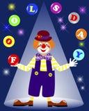 April bedrar dag. Jonglera bollar för clown. Arkivbild