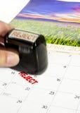 15 april belastingsdag en weigeringszegel Royalty-vrije Stock Foto