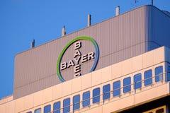 April 1, 2020, Berlin Germany - Bayer Pharma AG, Administration and laboratory building and logo of Bayer Healthcare