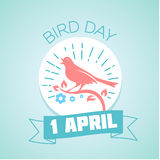 1 April Bird Day. Calendar for each day on April 1. Holiday - Bird Day. Icon in the style of a modern retro Royalty Free Stock Images