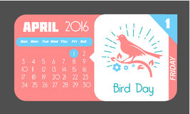 1 April Bird Day. Calendar for each day on April 1. Holiday - Bird Day. Icon in the style of a modern retro Stock Image