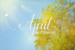 April blurred background with lettering. Stock Photography