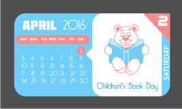 2 April Books for Young. Calendar for each day on April 2. Holiday - Books for Young ( Children's Book Day). Icon in the flat style Stock Photography