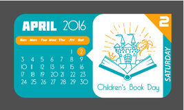 2 April Books for Young. Calendar for each day on April 2. Holiday - Books for Young ( Children's Book Day). Icon in the flat style Royalty Free Stock Photo