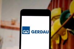April 1, 2019, Brazil. Gerdau logo on the mobile device. Gerdau is a Brazilian steel company. It has industrial operations in 11
