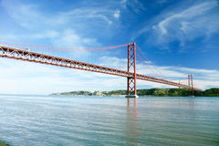 25 april bridge over Tagus River in Lisbon Royalty Free Stock Photo