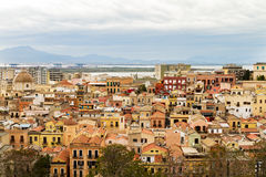 28 APRIL 2017 CAGLIARI, ITALY. Panoramic View on Old Town of Cag Royalty Free Stock Photos