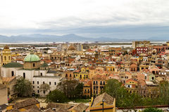 28 APRIL 2017 CAGLIARI, ITALY. Panoramic View on Old Town of Cag. Liari. Beautiful old architecture Stock Photography