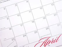 April Calendar. Close-up of April Calendar Stock Photos