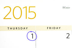April 2015 calendar with April Fools day circled Stock Images