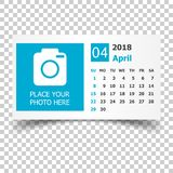 April 2018 calendar. Calendar planner design template with place. For photo. Week starts on sunday. Business vector illustration Royalty Free Stock Photography