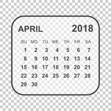 April 2018 calendar. Calendar planner design template. Week star. Ts on Sunday. Business vector illustration Royalty Free Stock Photography