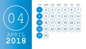 April 2018 calendar. Calendar planner design template. Week star. Ts on Sunday. Business vector illustration Royalty Free Stock Image