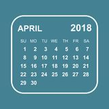 April 2018 calendar. Calendar planner design template. Week star. Ts on Sunday. Business vector illustration Royalty Free Stock Photos