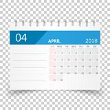 April 2018 calendar. Calendar planner design template. Week star. Ts on Sunday. Business vector illustration Stock Photography