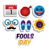 Fools day card celebration. April calendar cushion emoji mask shoes flower fools day icons vector illustration Royalty Free Stock Image