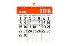 April 2018 calendar, 3D rendering. Isolated on white background Stock Image