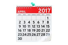 April 2017 calendar, 3D rendering. On white background Stock Photos