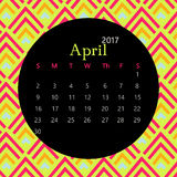 2017 April calendar design with geometric background | colorful modern business Royalty Free Stock Photos